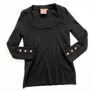Tory Burch scoop neck ribbed black sweater